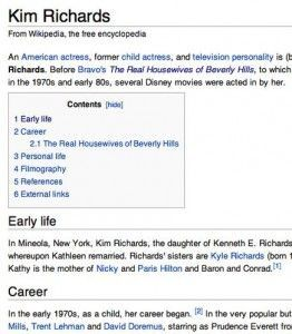 Kim Richards Wikipedia entry
