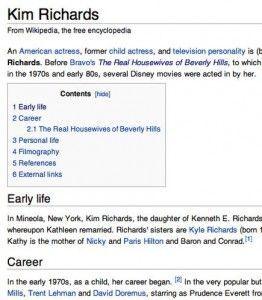 Kim Richards Wikipedia entry